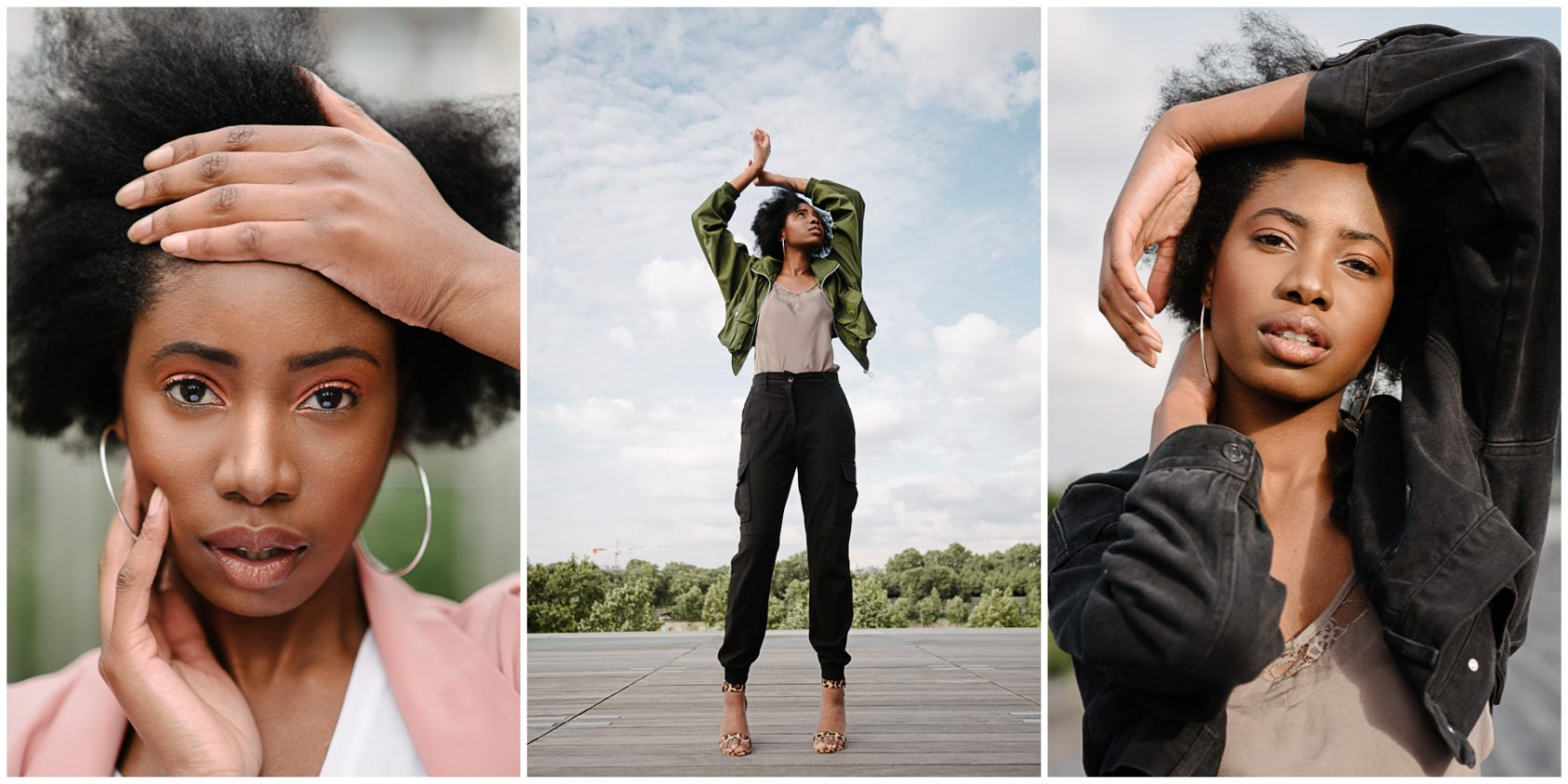 three photos of model safia abdou as shot by Paige Gribb