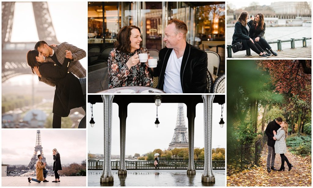 collage of couples photos in paris france by paige gribb photography
