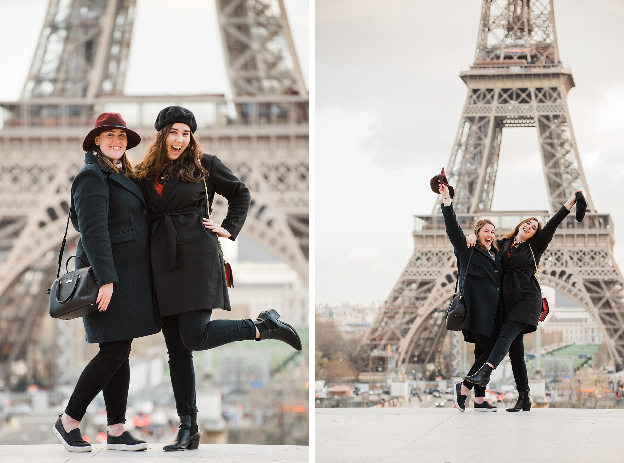 Two sisters posing together at the Eiffel Tower on a winter photo shoot in Paris, as a study abroad activity and Christmas gift