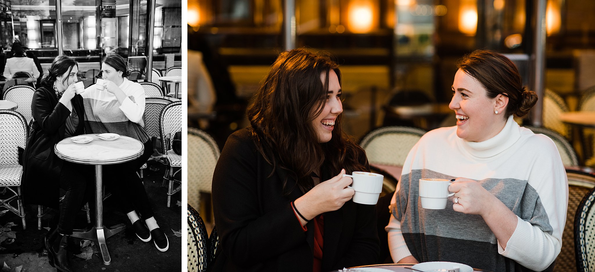 Professional photos of two sisters in a Parisian cafe