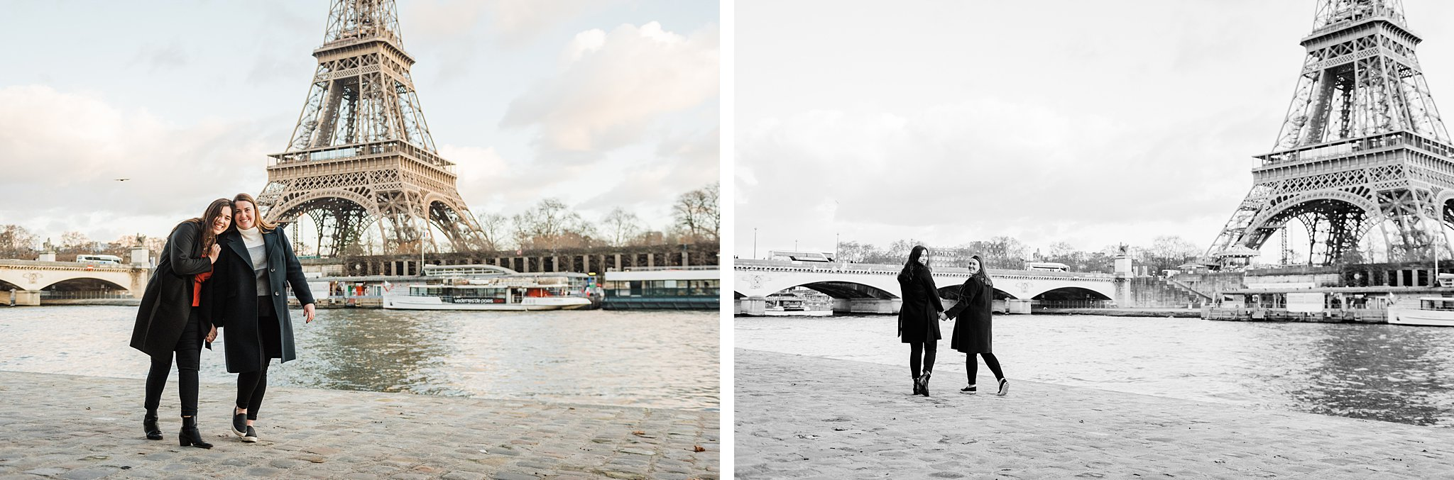 Side by side images of sisters walking together by the Seine during a Paris photo shoot, as a study abroad activity and Christmas gift
