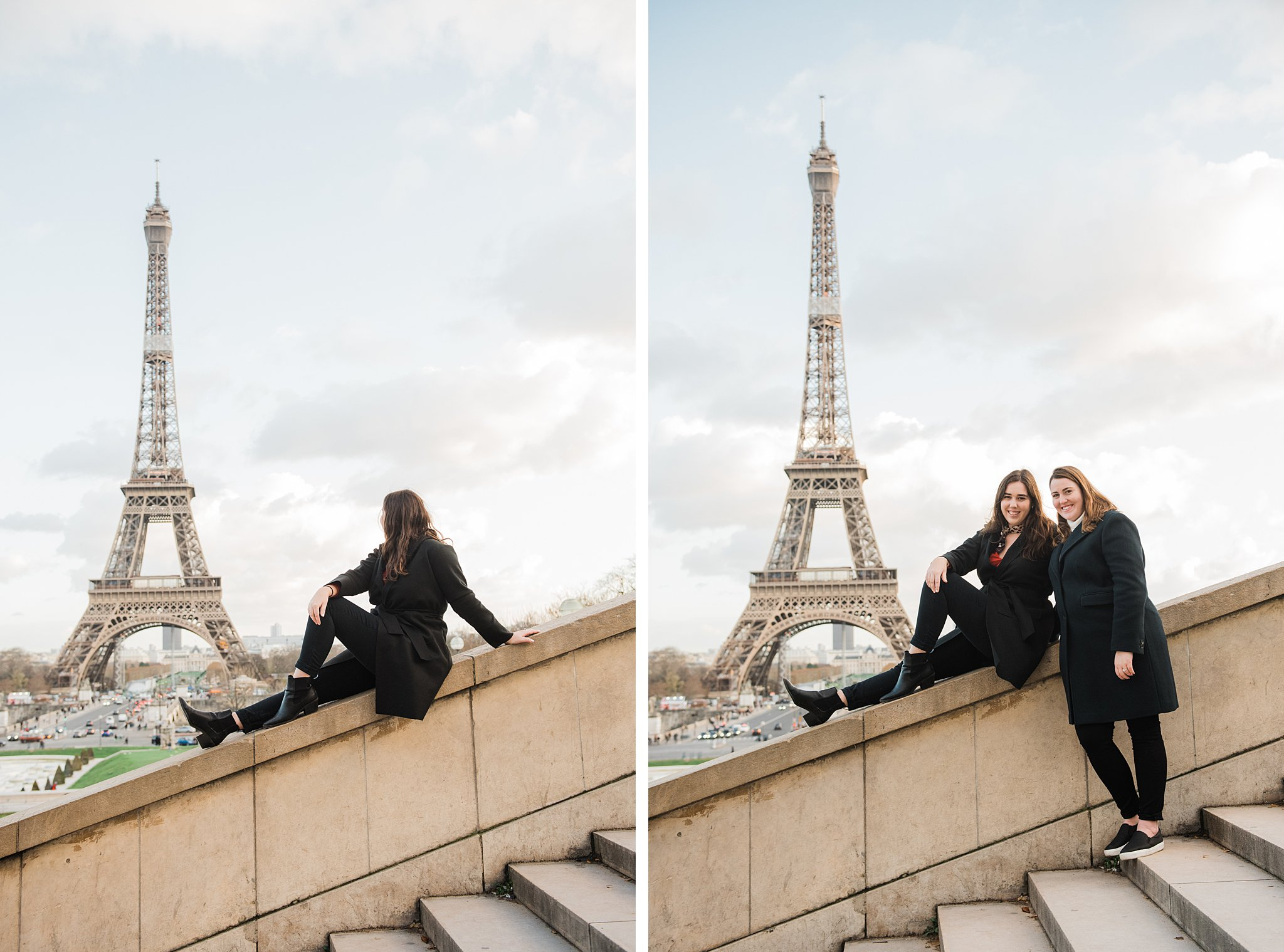 Two sisters on a staircase during a Paris winter photo shoot, as a study abroad activity and Christmas gift