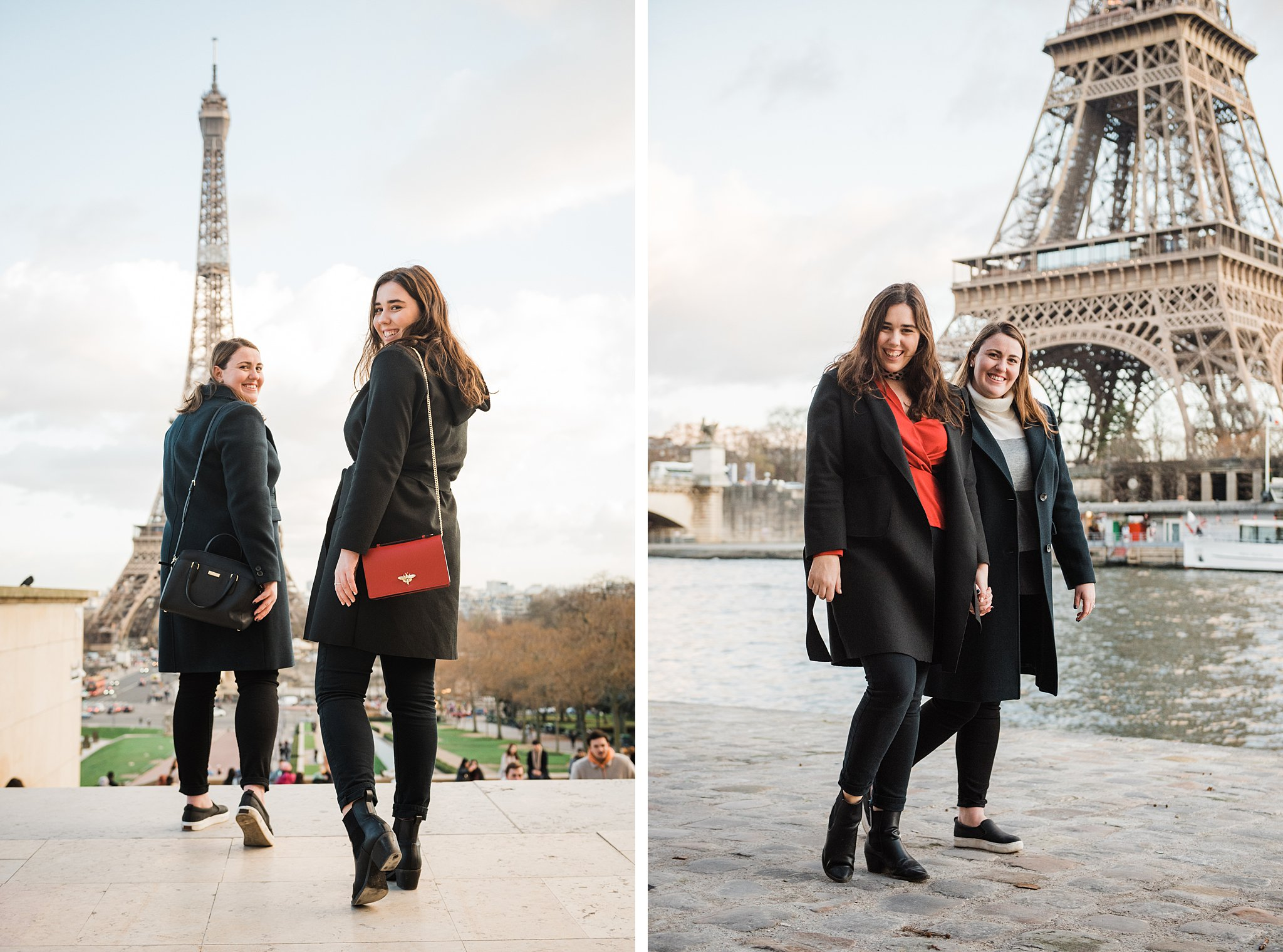 Two sisters with the Eiffel Tower in the background on a winter photo shoot in Paris, as a study abroad activity and Christmas gift