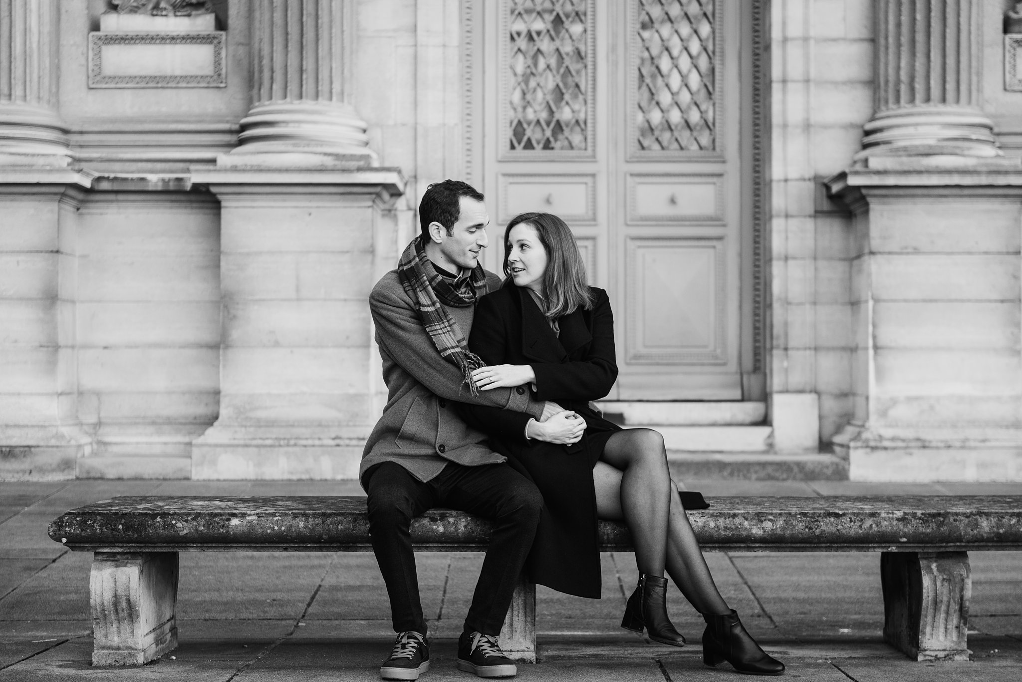 Paris Engagement Session at the Pont des Arts, Seine and Louvre Museum