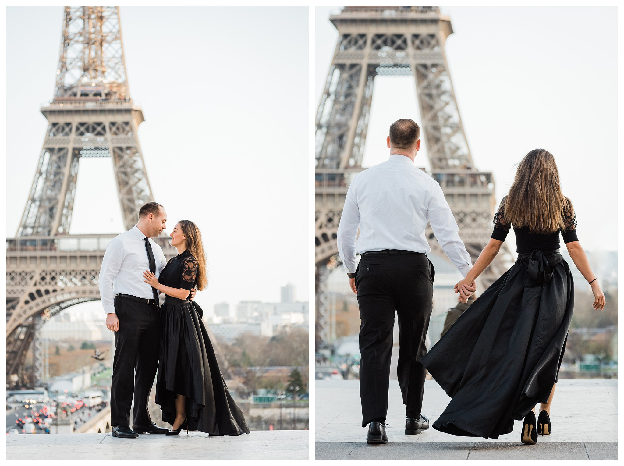 Jennifer and Yannick's Surprise Paris Proposal Photo Shoot at the Eiffel Tower - At Trocadero before the surprise