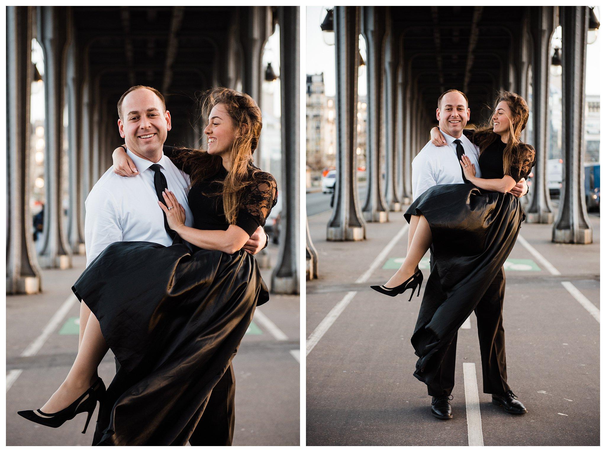 Jennifer and Yannick's Surprise Paris Proposal Photo Shoot at the Eiffel Tower - he picks her up at the bir-hakeim bridge