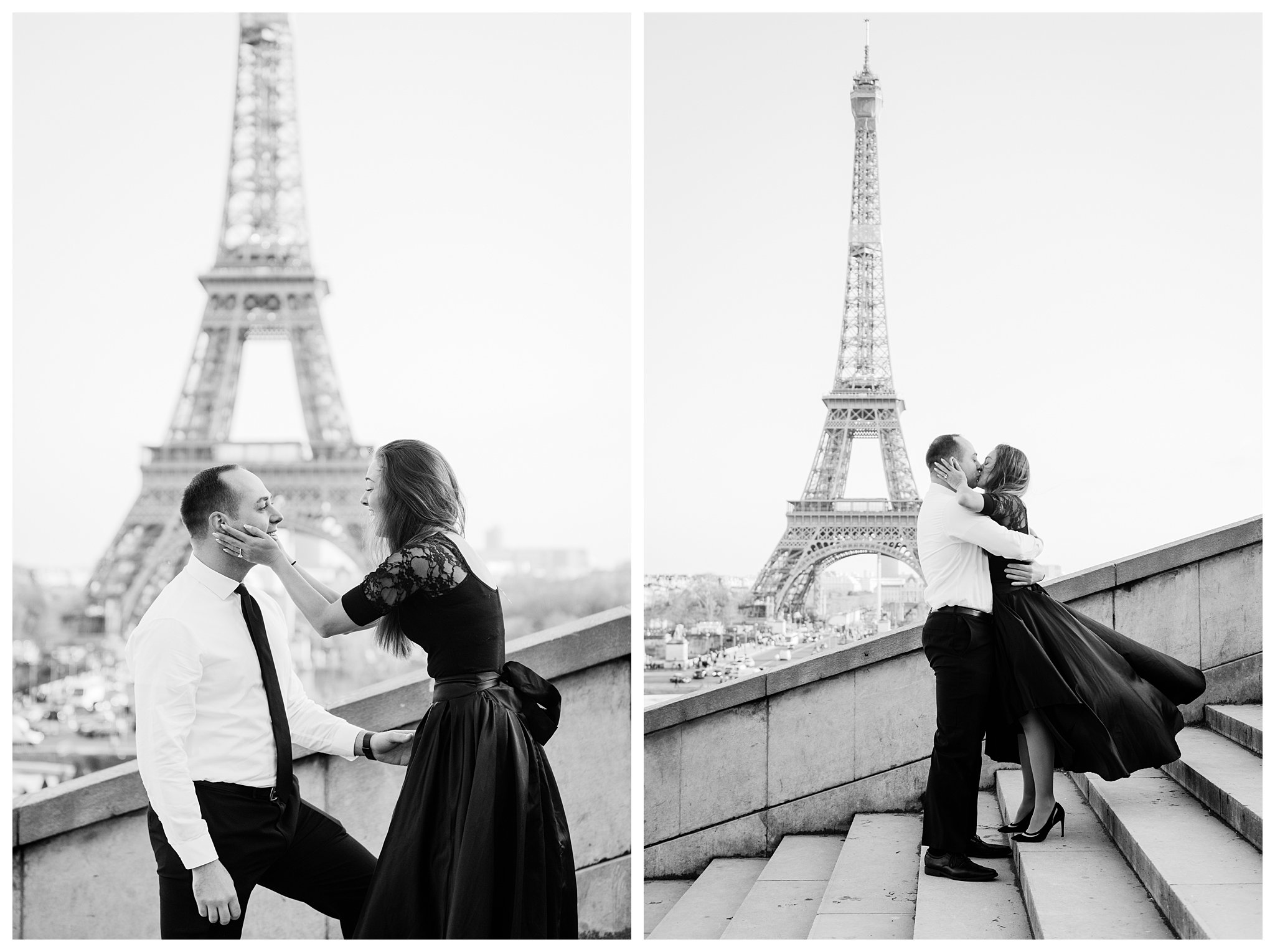 Jennifer and Yannick's Surprise Paris Proposal Photo Shoot at the Eiffel Tower - the kiss bw