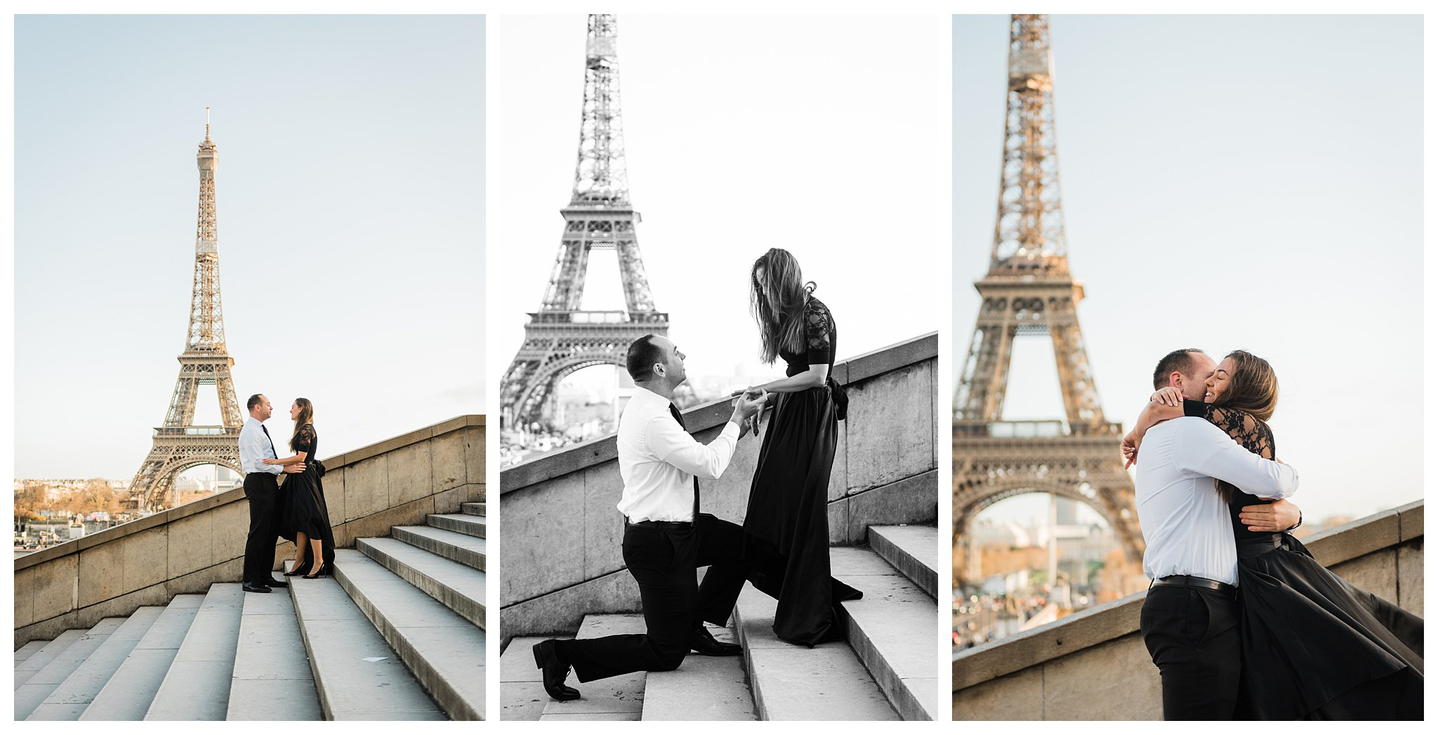 Jennifer and Yannick's Surprise Paris Proposal Photo Shoot at the Eiffel Tower - the moment he gets down on one knee