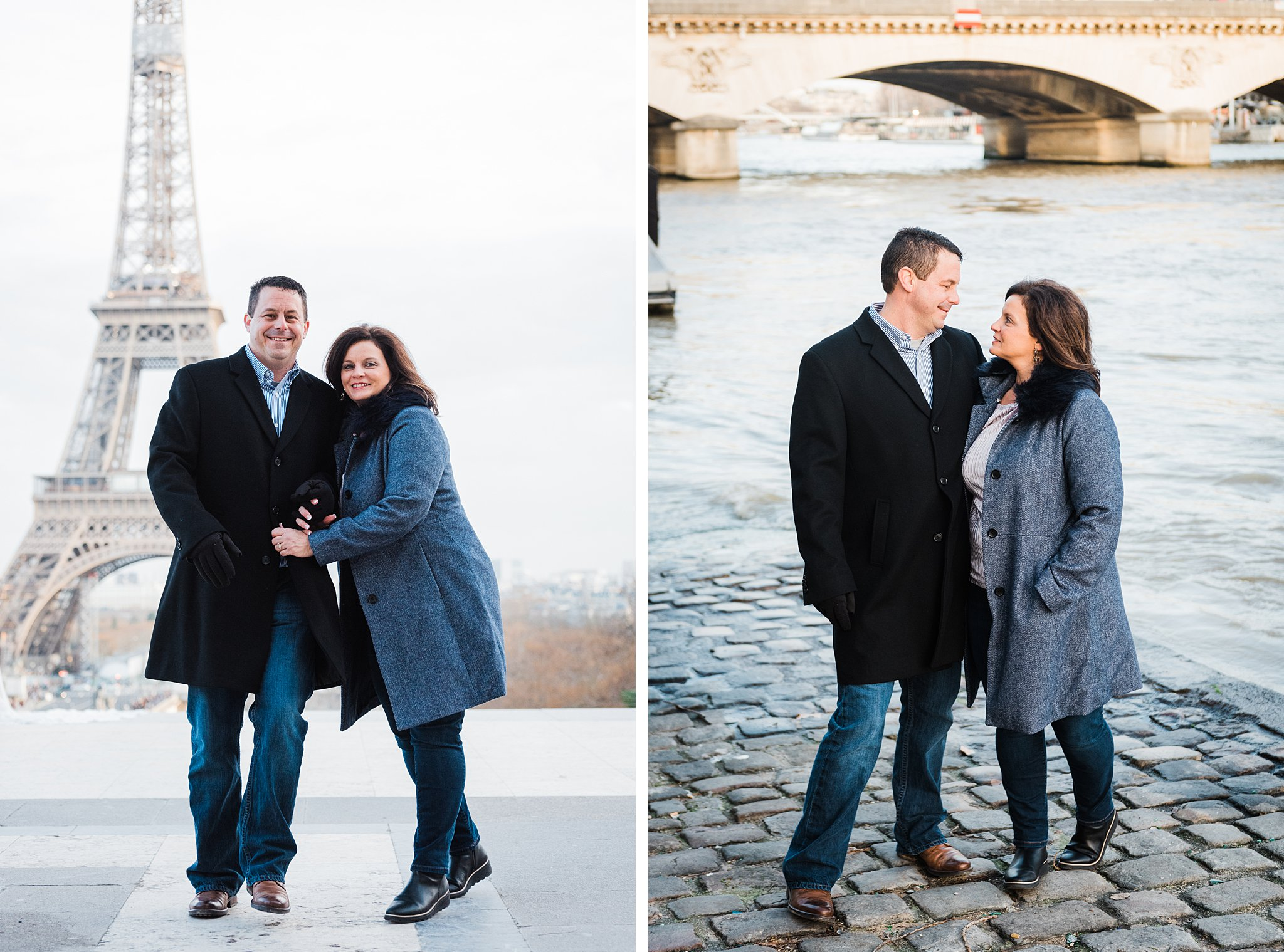 25th anniversary couples photography session by the seine river in Paris, France