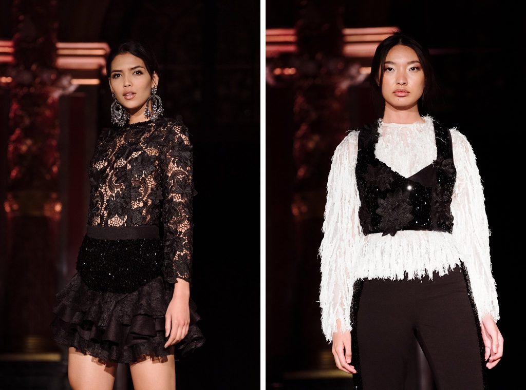 3/4 length fashion show photography, black and white looks from oxford fashion studio's show at paris fashion week
