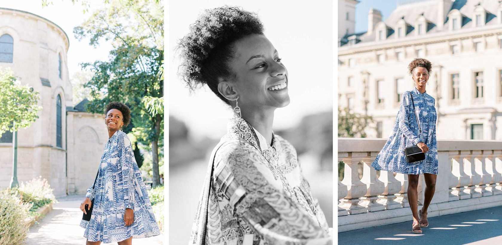 trio of photos from my first photo shoot after lockdown: 3 portraits with Lucie in a blue and white dress in central Paris