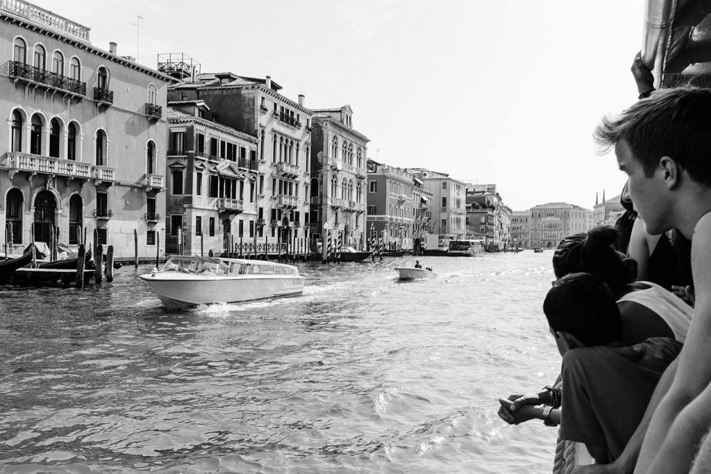 On the Vaporetto: Black and White photo print by Paige Gribb. Taken in Venice, Italy in 2017. Print featured in FUNNEL gallery's virtual spring exhibition 2021