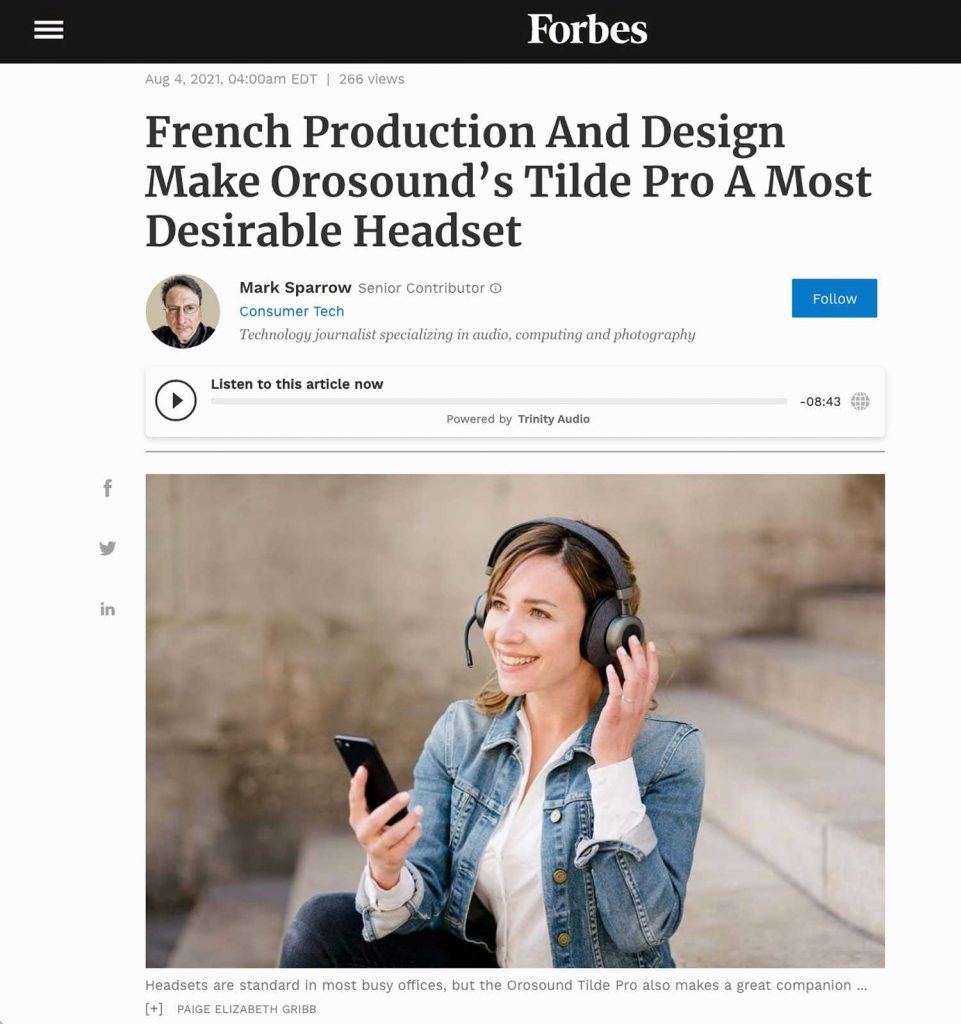 Screen Shot of Forbes article featuring Paige Gribb's photo at the top—a lifestyle product image with a model sitting on some stairs outdoors in Paris with an Orosound headset and a cell phone
